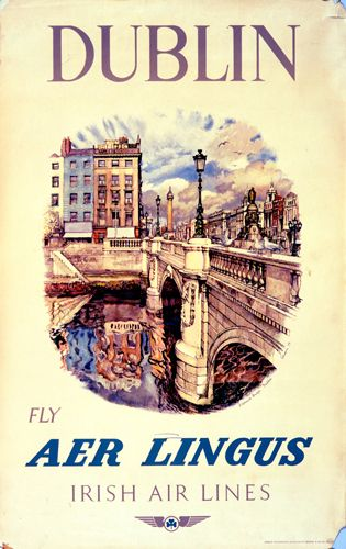 Dublin with Aer Lingus - Vintage Poster (With images ...