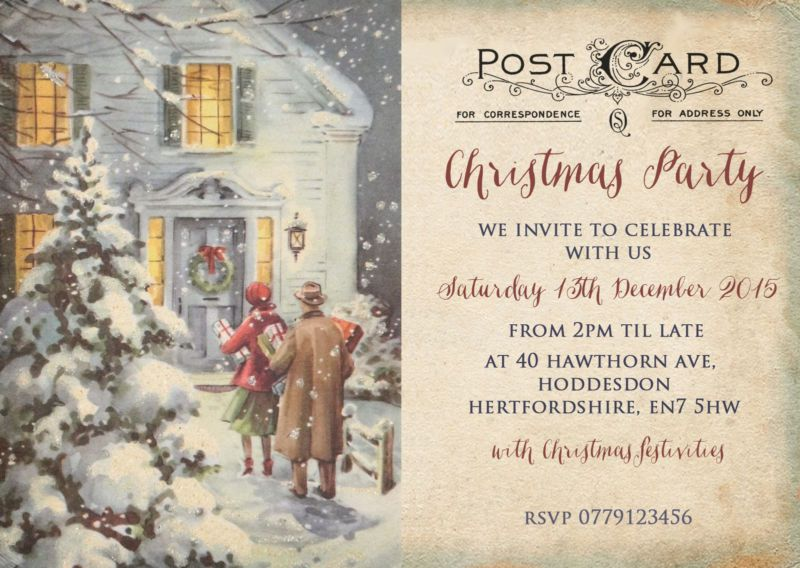 Christmas Parties Hertfordshire Part - 39: Personalised Vintage Christmas Party Invitations Packs Of 10