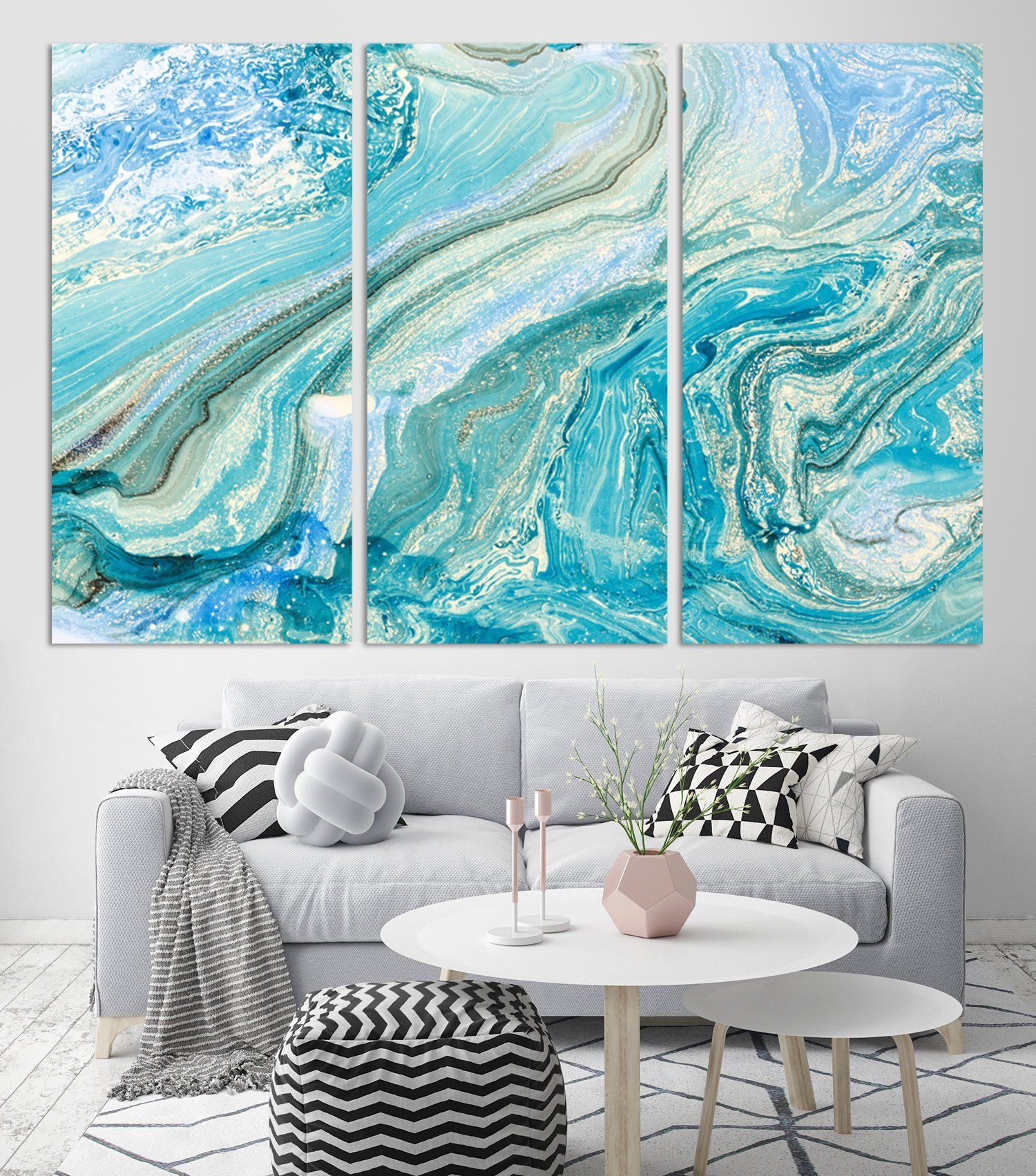 turquoise gold marble abstract decor extra large wall art on large wall art id=87044