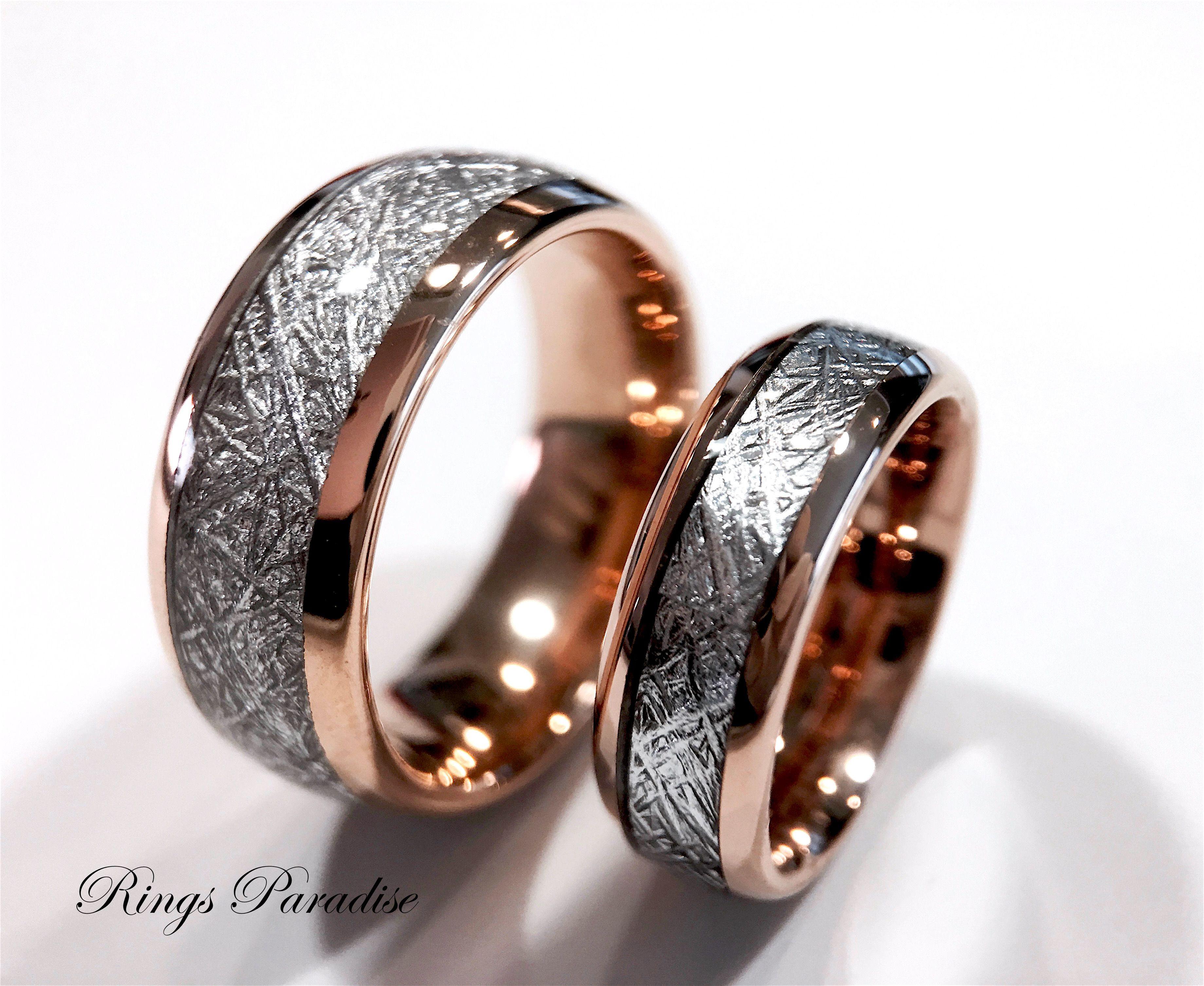 Rose Gold Meteorite Ring, Meteorite Tungsten Ring, Wedding