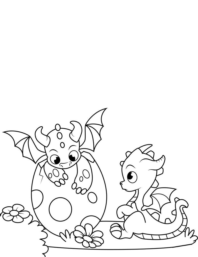 baby dragon coloring pages cute also
