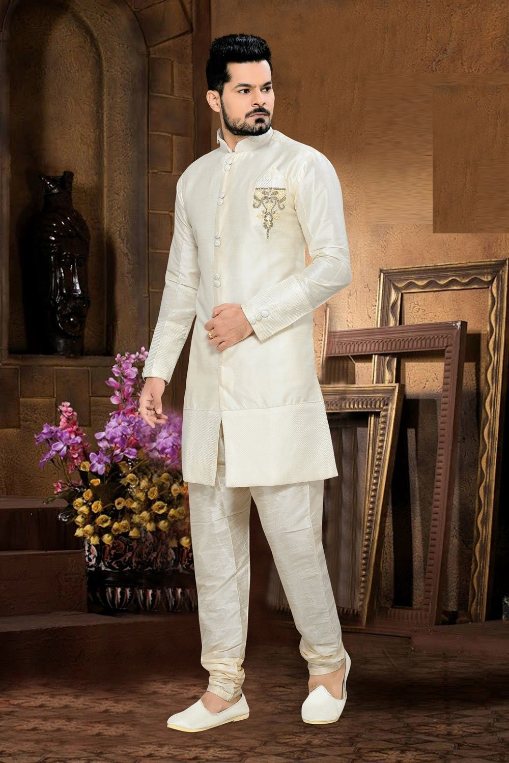 Art Silk Wedding Wear Traditional Indian Sherwani In Off