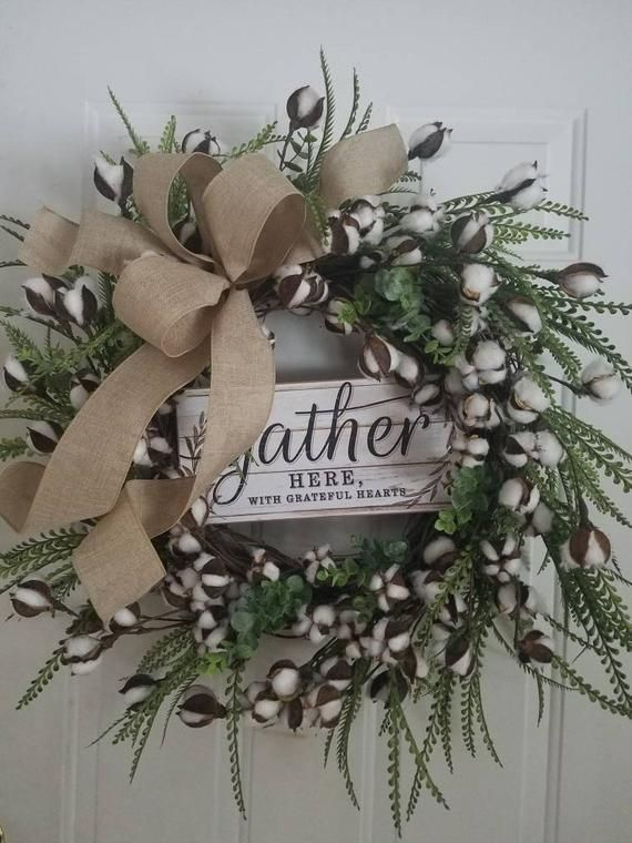 Photo of Farmhouse Wreath, Cotton Wreath, Everyday Farmhouse Grapevine Wreath, Rustic Wreath, Cotton boll Grapevine Wreath, XL Farmhouse Wreath