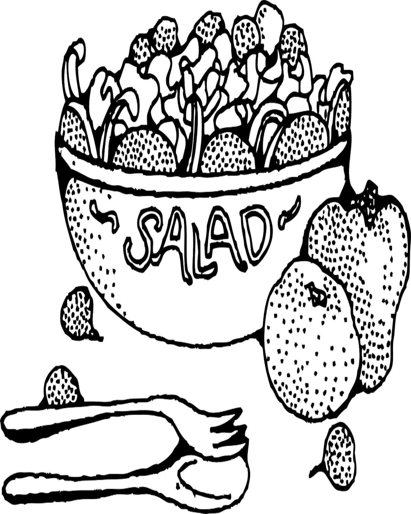 Free Printable Fruit Salad Bowl Coloring Page
