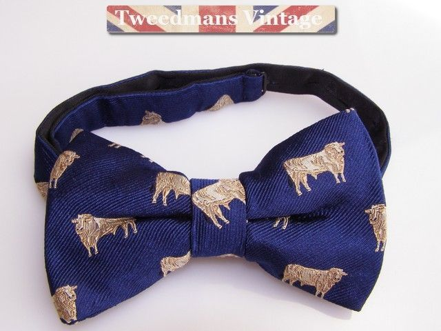Mens Bow Tie Silk Bow Tie Bulls Cow Design New 14 99 Vintage Clothing Men Silk Bow Ties Second Hand Designer Clothes