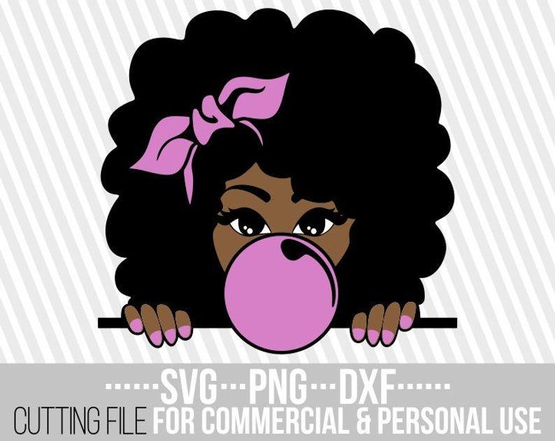 Peeking Afro Girl svg, Natural hair svg, Layered, Hair bow