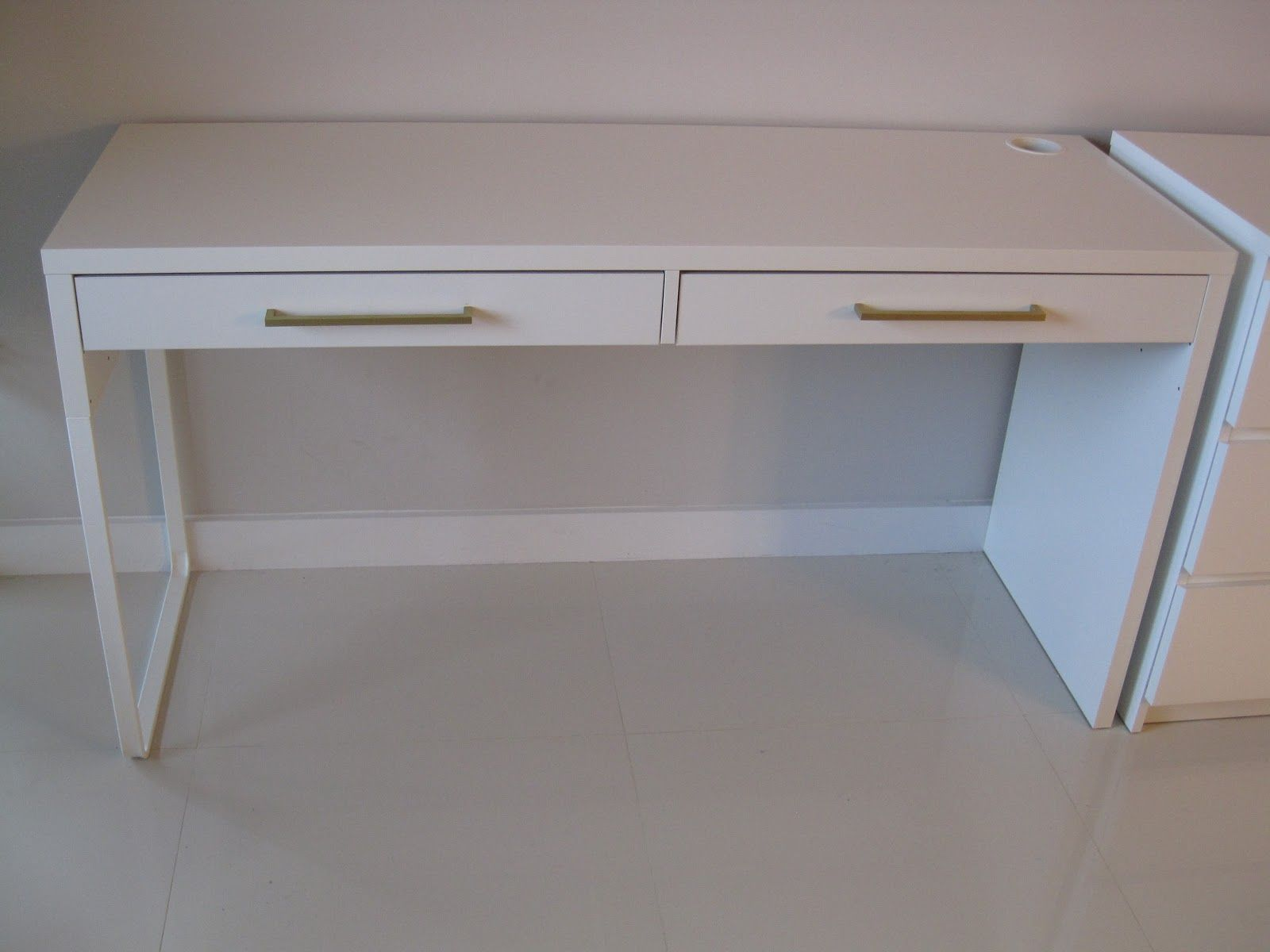 Ikea micke desk hack google . consider adding drawer pulls in