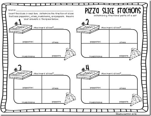 Pizza Slice Fractions with printable Math Pinterest Math - printable book report forms