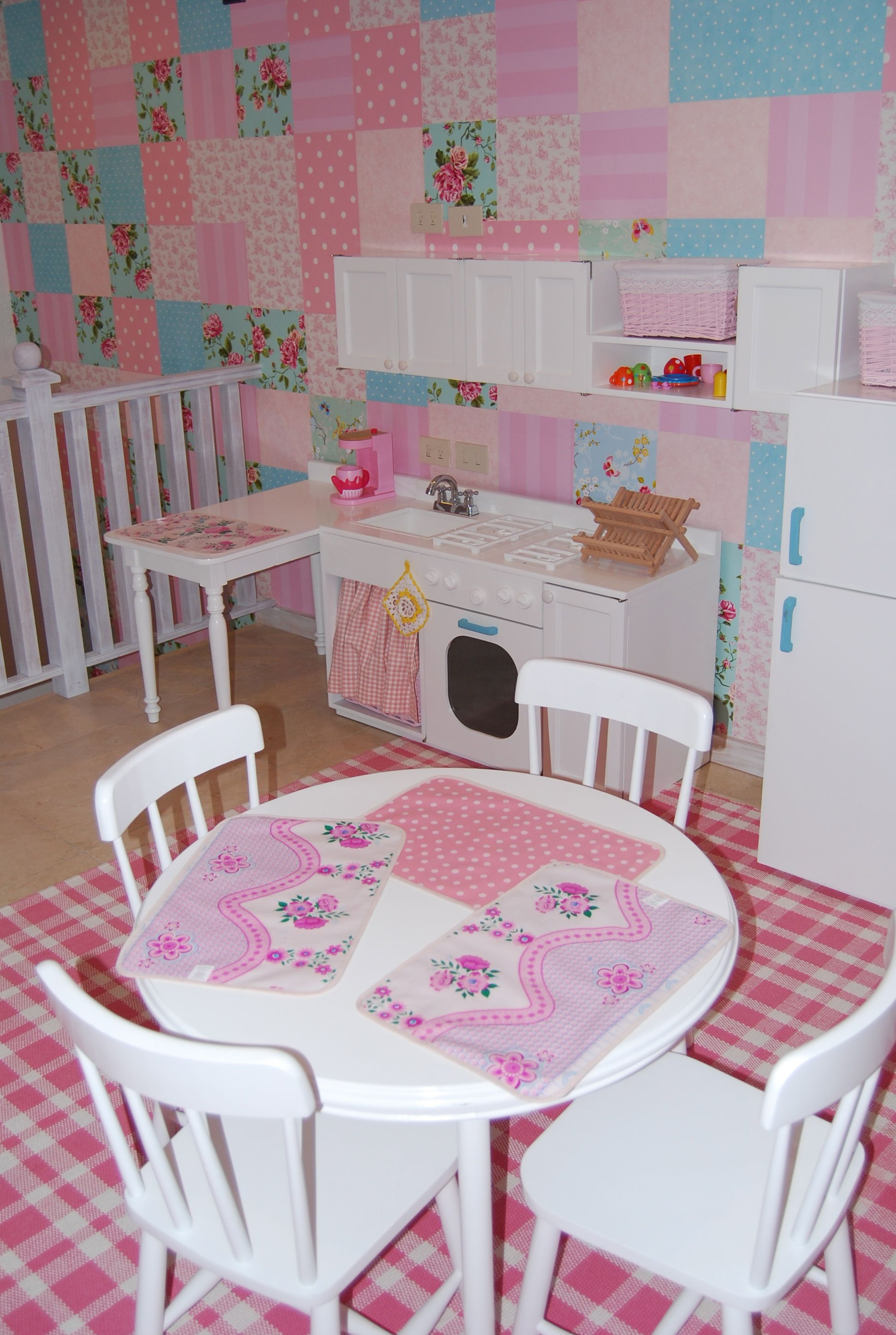 Girls playroom Wallpaper patchwork Kids Interiors