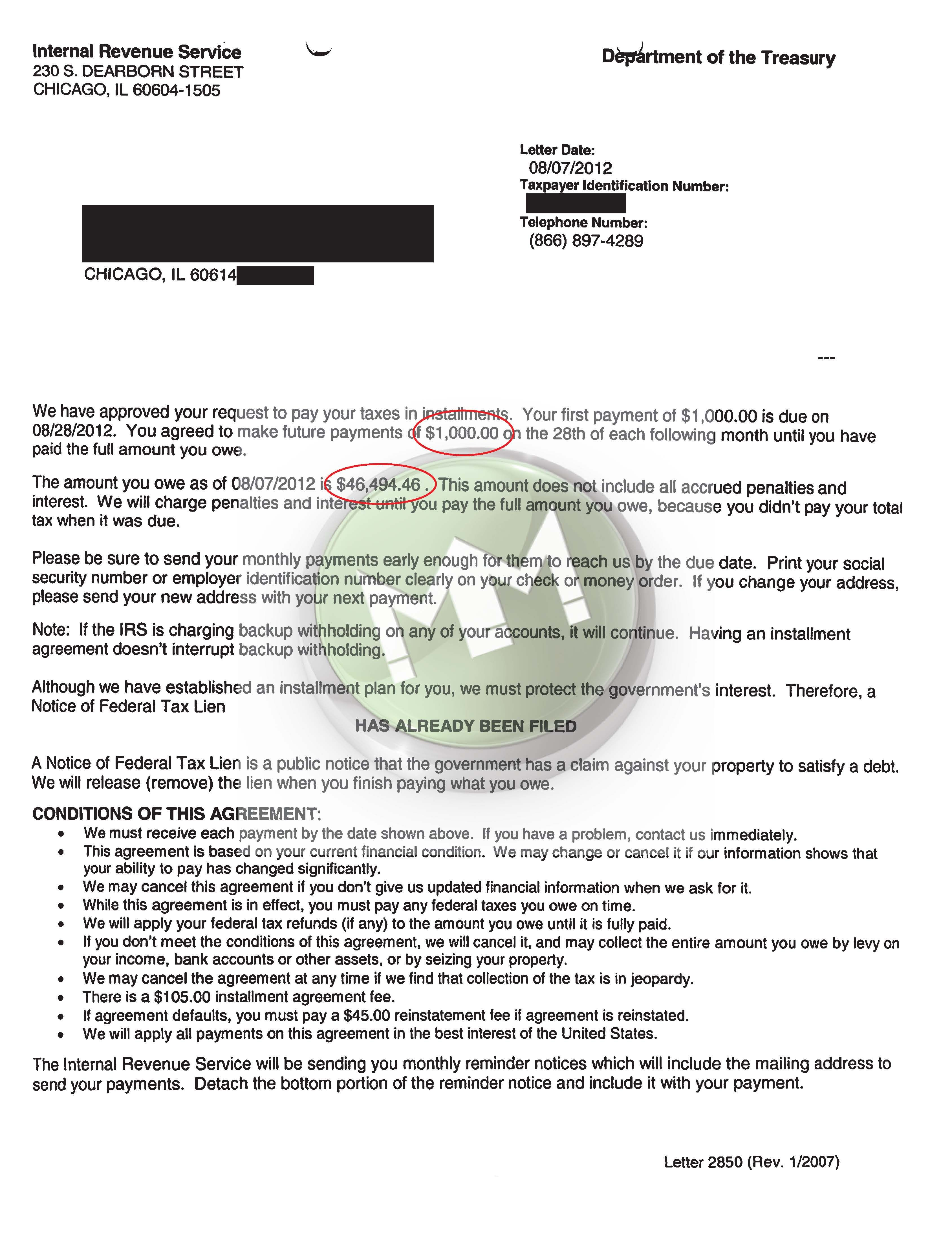 Irs Installment Agreement Illinois Payroll Taxes Lettering Internal Revenue Service