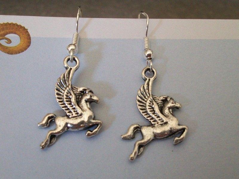 Amazing Detail Pegasus 925 Earrings (Winged Horse)