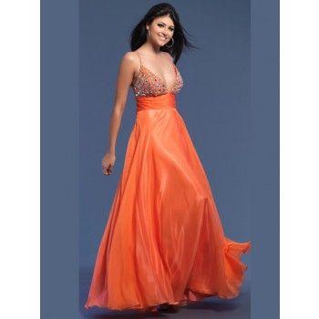 elegante bestickte abendkleider lang orange mit trägern  abschlussball kleider atemberaubende