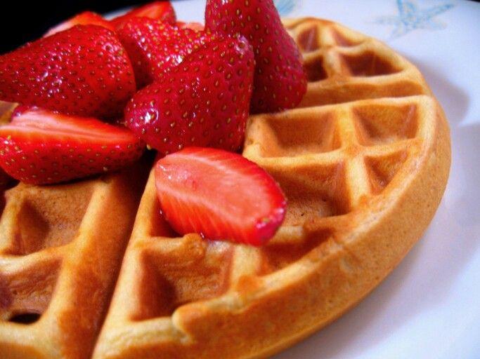 Waffles Strawberries Waffles Food Tasty