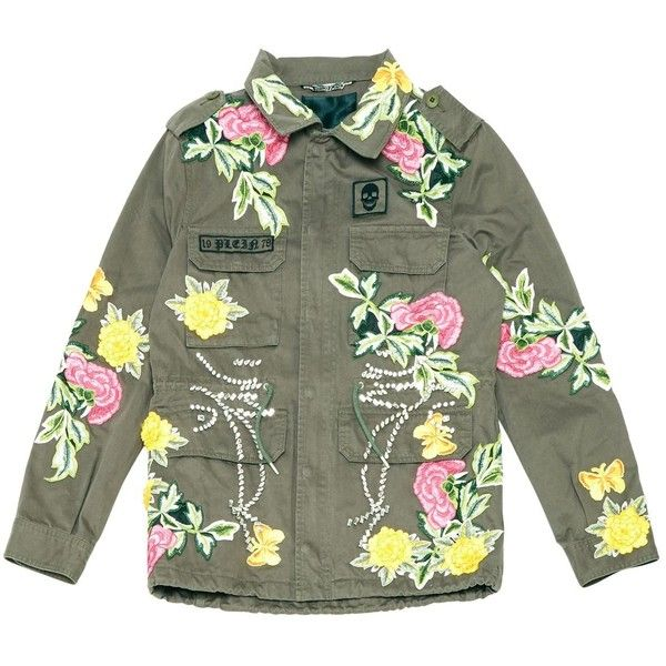 Pre-owned Philipp Plein Jacket ($1,774) ❤ liked on Polyvore featuring outerwear, jackets, khaki, women clothing jackets, khaki jacket, green jacket, cotton military jacket, green field jacket and military jacket