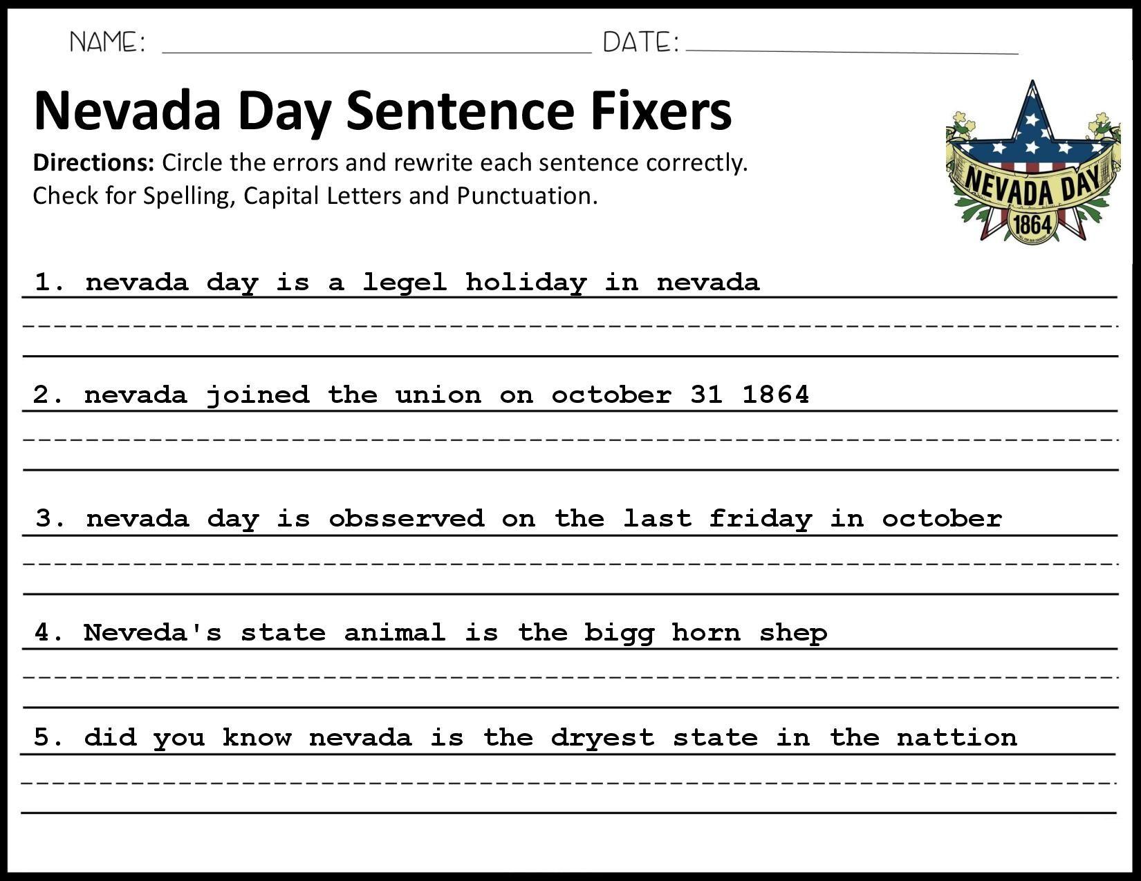 Nevada Day Sentence Fixer In 2020 Sentence Fixer Nevada Day Sentences