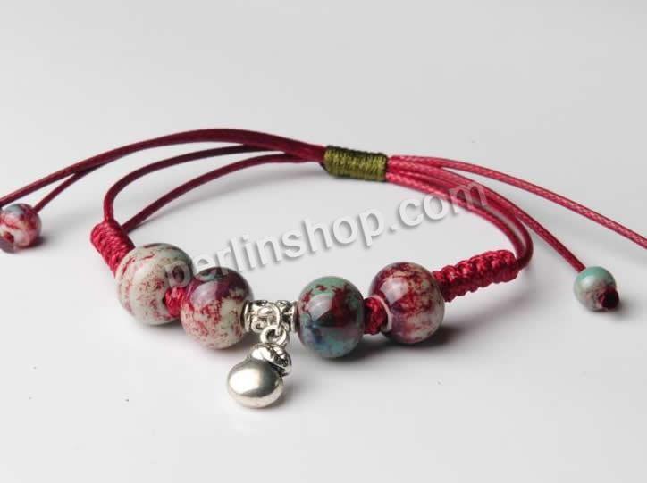 Porzellan Shamballa Armband, mit Wachsschnur & Zinklegierung, glaciert, 8-14mm, Länge:ca. 7.5 Inch1, 30Stränge/Pack, verkauft von Pack - per...