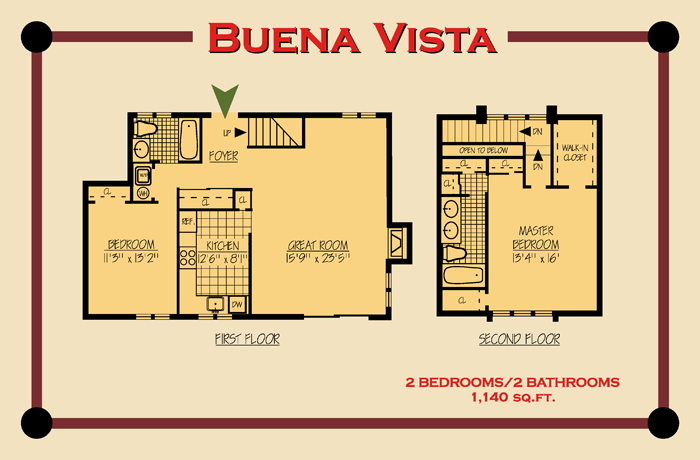 The Buena Vista Floor Plan Two Bedroom Townhouse Floor Plans