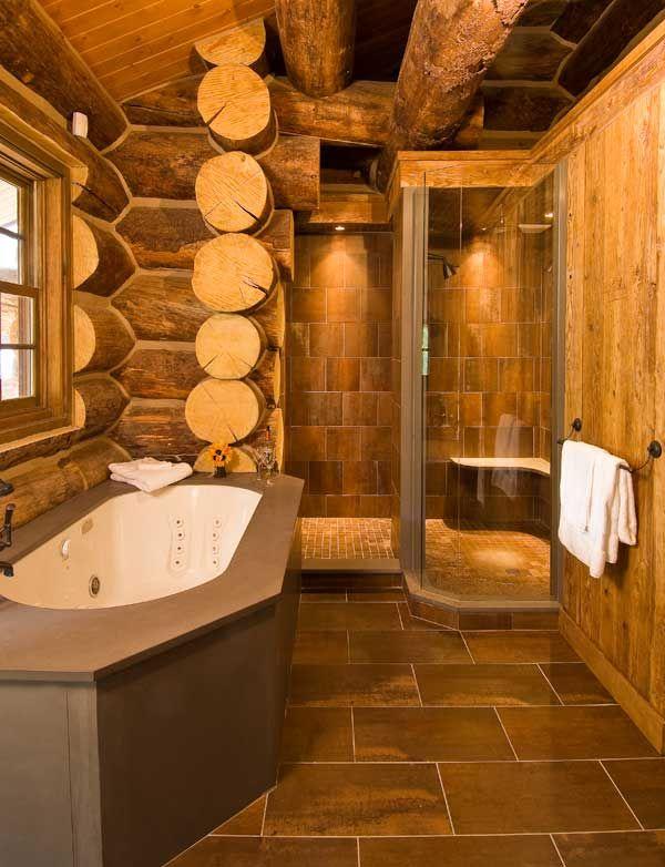 Shower And Bath Log Home Bathrooms Log Home Interiors Cabin Interior Design