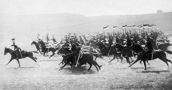 France, c. 1916. The 9th British Lancers charging German artillery in WWI.