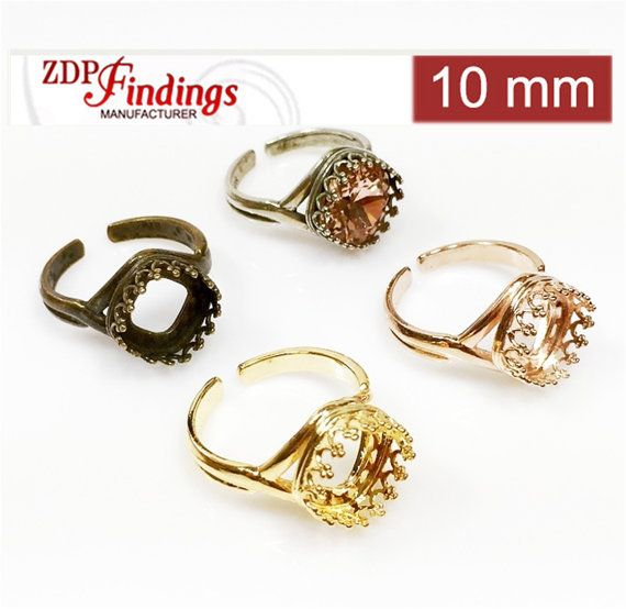 6435e90b6 2pcs x Quality Cast 10mm Adjustable Ring Bezel Settings fit Swarovski 4470  Crystals, Choose Your Color DIY (9915V)