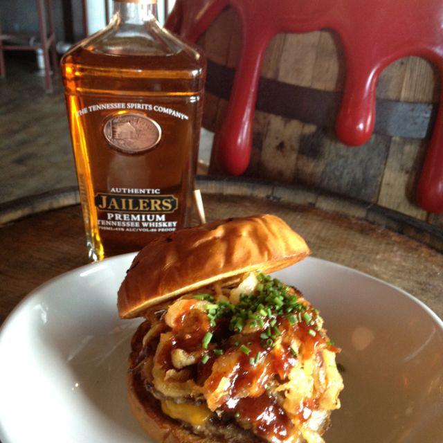 The Big Texan: Niman Ranch Berf topped with onion straws, cheddar, bourbon BBQ and chives!!! Bar 145 Toledo! #Bar145 #Gastropub