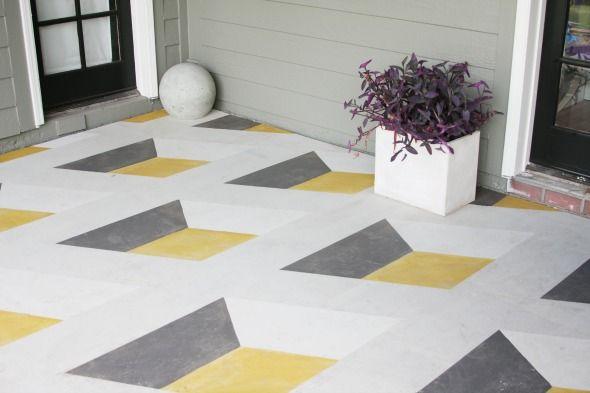 Diy Geometric Cube Painted Floor Diy Flooring Patio