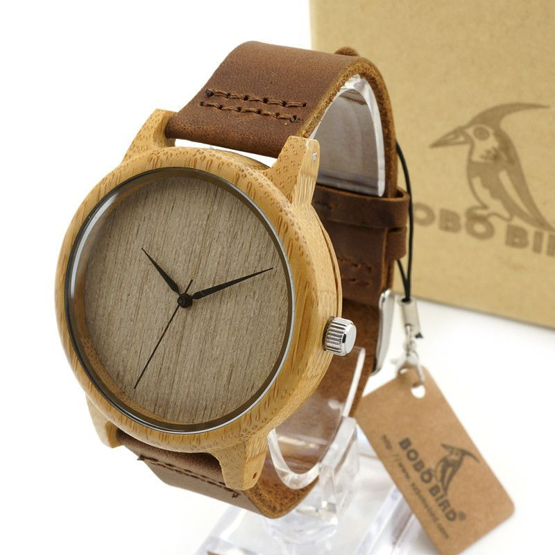 New Wooden Watch Luxury Brand Round Wood Case Elegant Men Quartz Wrist Gift Dress Men's Leather Strap Watches