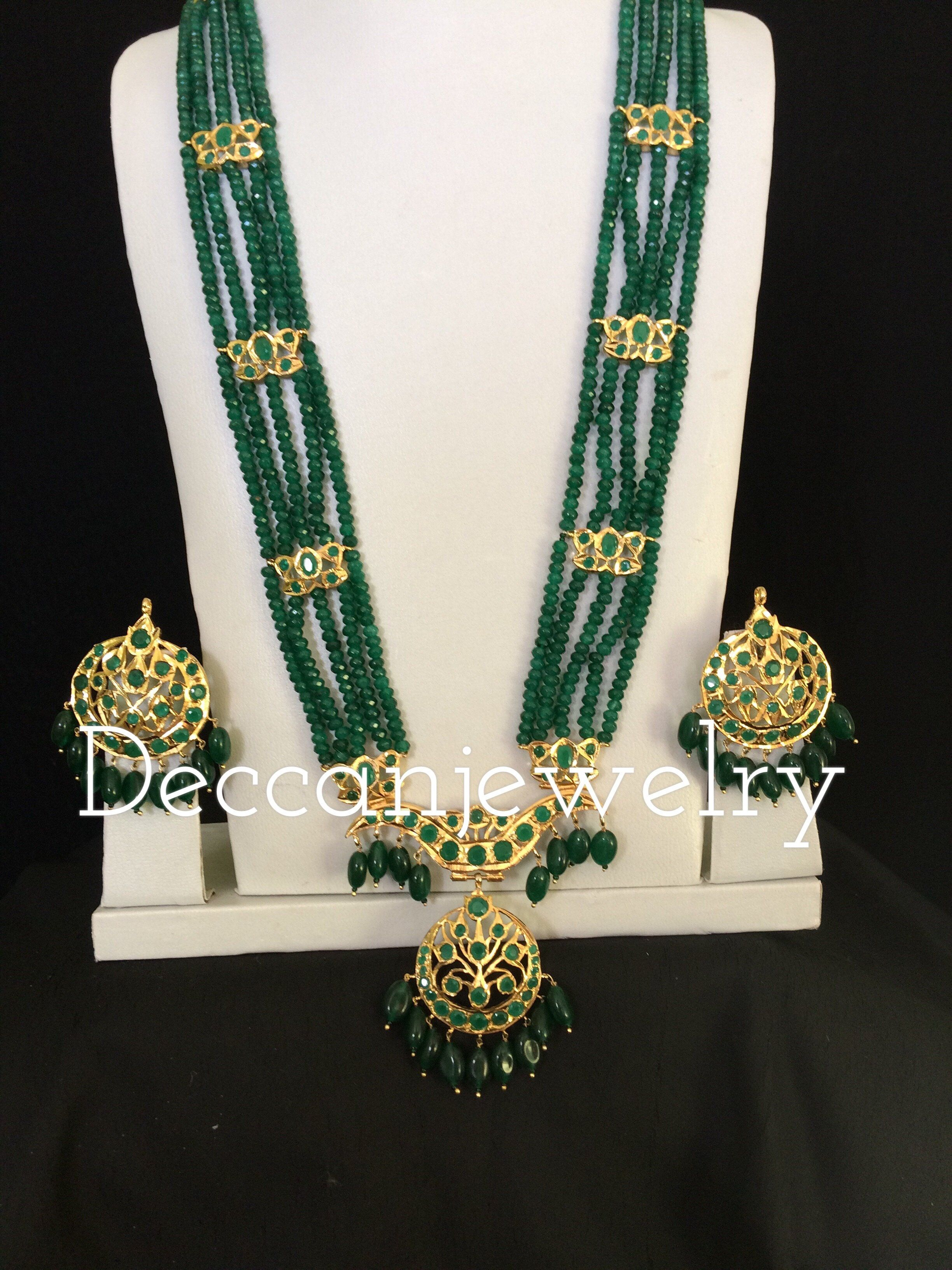 """Long Charming 50/"""" 3 Strands 4mm Dark Green Emerald Bead /& White Pearl Necklace"""