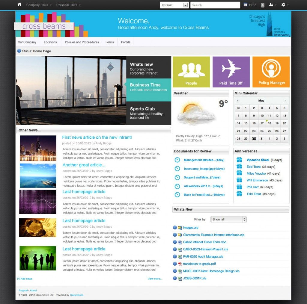 Sharepoint site design ideas - Crossbeams Intranet Design