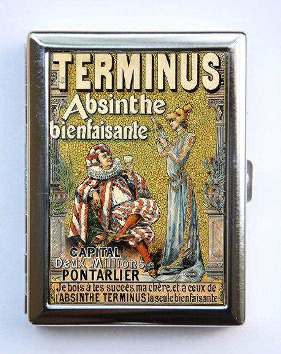ABSINTHE Green Fairy Vintage Metal Business Card Case Holder