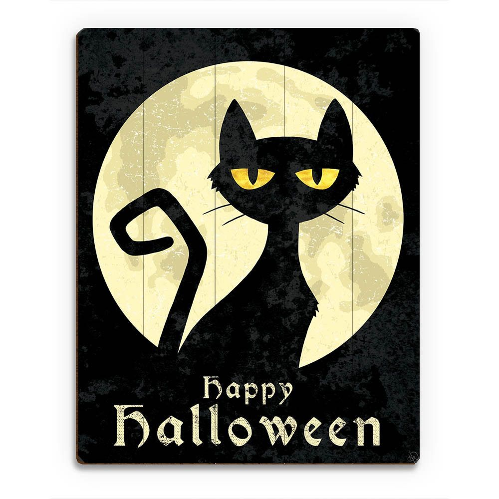 Horizon Halloween Cat Multicolored Wood Wall Art Cat Wall Art Halloween Chalkboard Art Halloween Canvas