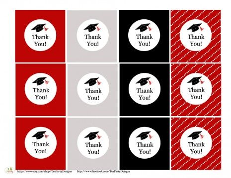 photograph relating to Free Printable Graduation Labels identified as no cost printables Commencement Thank Yourself tags grads