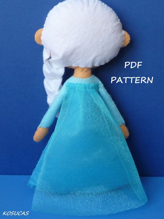 PDF sewing pattern to make a felt doll inspired in Elsa | personajes ...
