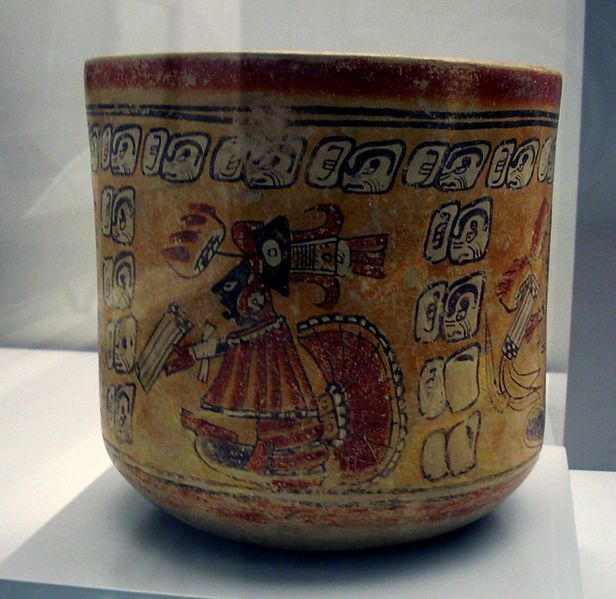 Late Classic Maya cup in the Museum of the Americas, Madrid.
