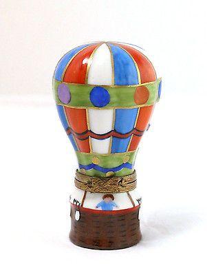 Limoges Peint Main Porcelain Hot Air Balloon Trinket Box.