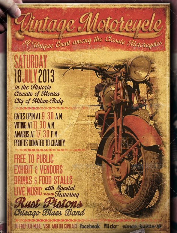 awesome vintage motorcycle flyer poster vol