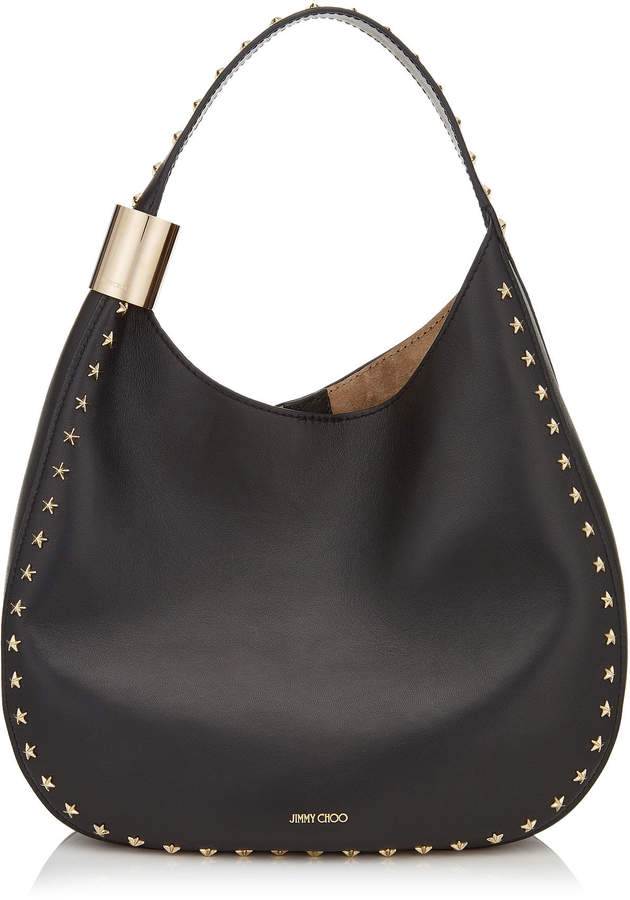 Jimmy Choo STEVIE Black Nappa Leather Shoulder Bag with Star Studs dc6db4e10ddd2