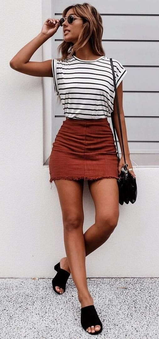 summer outfits Striped Top + Burnt Red Denim Skirt