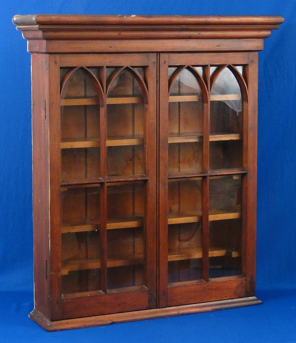 antique federal arched dbl door hanging wall cabinet