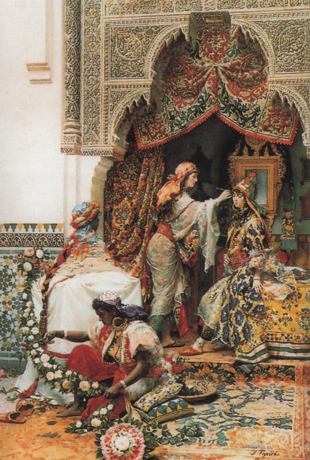 """Préparation pour le mariage, Jose Tapiro y Bara (1836-1913)   O Maghreb (em árabe = local onde o sol se põe"""") cobre uma área de mais de 2000..."""