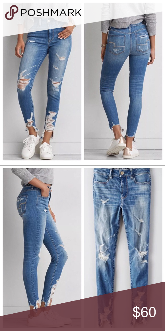 bcbda118d15e AEO Destroy & Cut Skinny Jeans American Eagle Outfitters Skinny Jeans with  a torn / cut up hem & destroyed legs. New. Size 0. Please send reasonable  offers ...