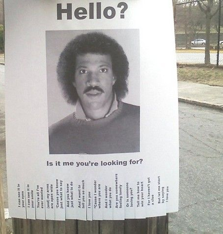 Lionel Richie 'Missing' Poster Photo: 'Hello' Themed Street Flyer by NowPublic Staff