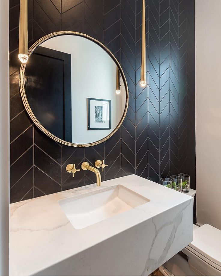 "Photo of Bathroom from Instagram to Instagram: ""What an elegant guest toilet! Build: @hunter_homesla Design: Brad Gerszt #halfbath #powderroom #tile #tiles #backsplash # backsplashtile… """