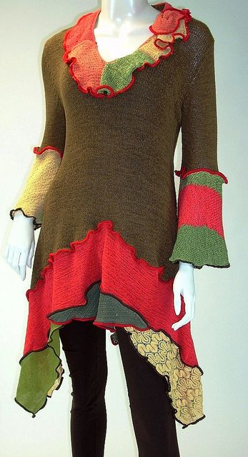 Coffee Brown, Vermilion and Gold Tunic, Size Medium ( 8-10-12 ...