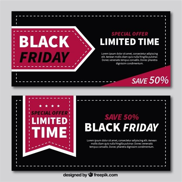 Flat banners of black friday with great discounts Free Vector - discount voucher design