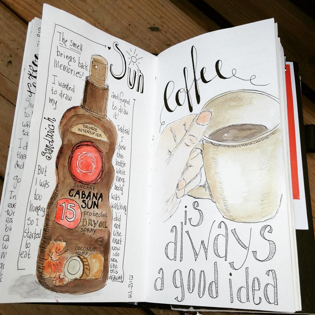"""#midoritravelersnotebook #artjournal #artforall #sketchbook #sketch #coffee #watercolor #drawyourday #drawing #illustratie #illustration"""
