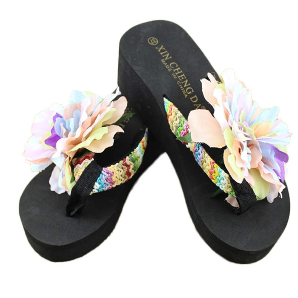 Womens Cloth Flower Flip Flop Casual Wedge Heel Shoes Platform Beach New Slipper