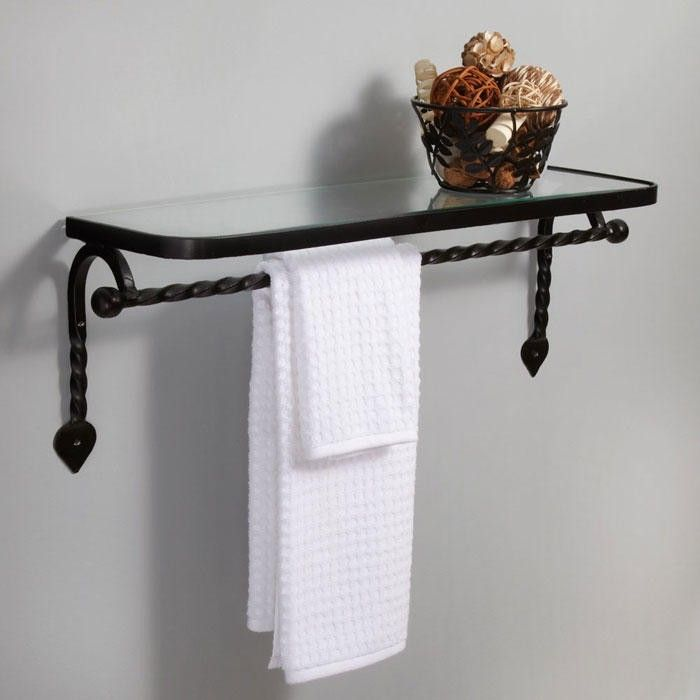 Gothic Collection Cast Iron Glass Shelf with Towel Bar - Matte Black ...