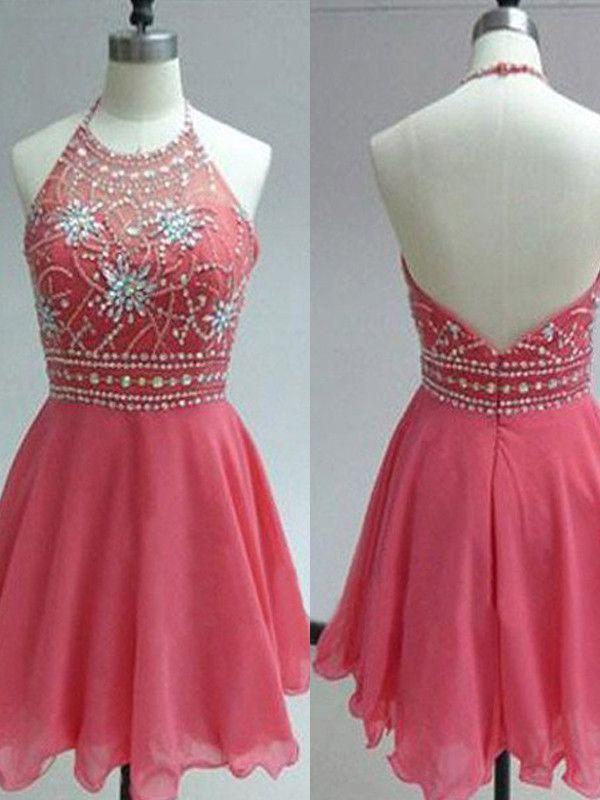 halter prom dresses,Watermelon A-line Halter Short Mini Chiffon ...
