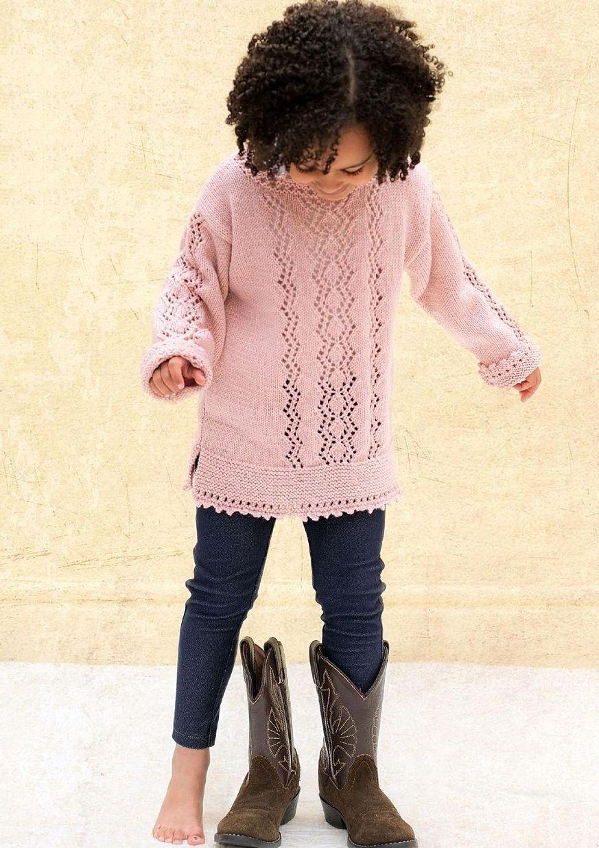Детская туника спицами с описанием Powder Zigzag | Pinterest